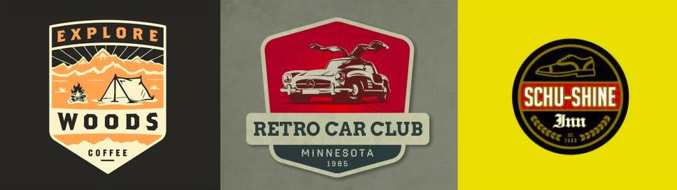 Explore Badge by Andrew Berkemeyer; Retro Car Logo by gurhan canturk; Schu-Shine Inn by Sean Heisler